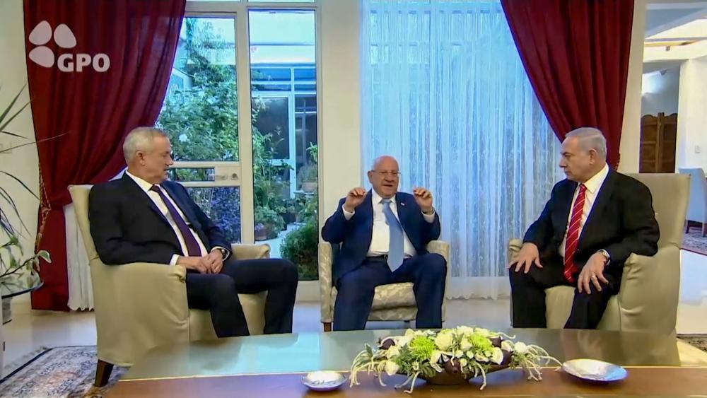Benjamin Netanyahu, Reuven Rivlin, and Benny Gantz in the wake of Israel's inconclusive election
