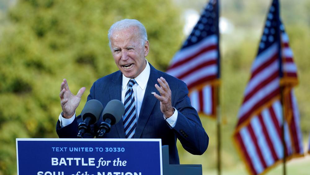 Democratic presidential candidate former Vice President Joe Biden speaks at Gettysburg National Military Park in Gettysburg, Pa., Oct. 6, 2020. (AP Photo/Andrew Harnik)