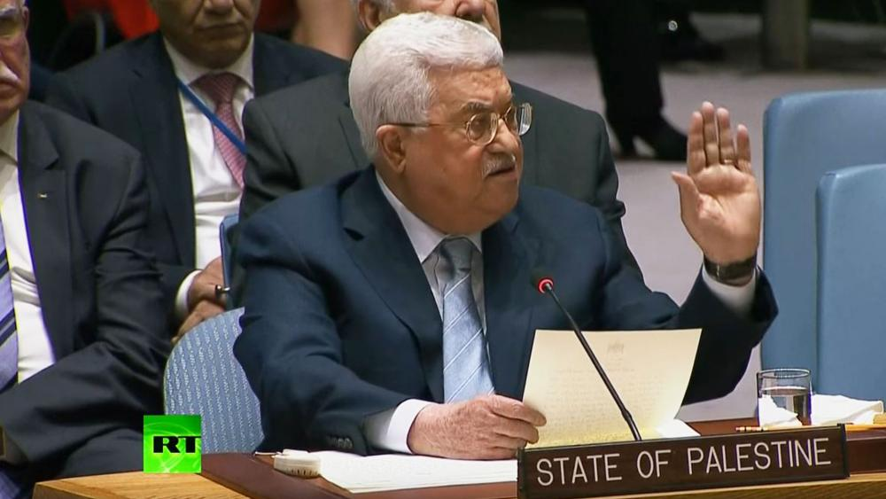 Palestinian President Mahmoud Abbas Addresses the UNSC, Photo, Screen Capture, RT