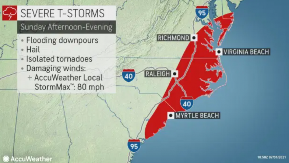 """Severe Storms to Kick off August for Northeast US Cooler and less humid conditions are settling in across the Northeast, while residents receive a brief respite as residents pick up the pieces after tornadoes ravaged the mid-Atlantic on Thursday evening. Unfortunately, more storms are on the way to the region before the weekend is over.  """"A potent short wave of energy will sweep across the Great Lakes to the Northeast on Sunday delivering the threat for damaging storms by Sunday afternoon,"""" said AccuWeather Senior Meteorologist Matt Benz.  A short wave is a disturbance in the middle or upper part of the atmosphere which induces upward motion ahead of it, according to the National Oceanic and Atmospheric Administration (NOAA). This upward motion allows storms to develop.  """"A couple of pockets of severe weather are likely in the Northeast on Sunday, and the pattern switch may eventually lead to a great deal of rain in the Southeast and parts of the Northeast,"""" added AccuWeather Senior Meteorologist Alex Sosnowski."""