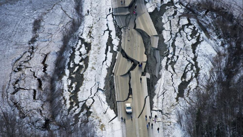 This aerial photo shows damage on Vine Road, south of Wasilla, Alaska, after earthquakes Friday, Nov. 30, 2018. AP photo.