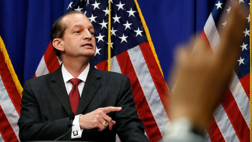 Labor Secretary Alex Acosta calls on a reporter to ask a question during a news conference at the Department of Labor, Wednesday, July 10, 2019, in Washington. (AP Photo/Alex Brandon)