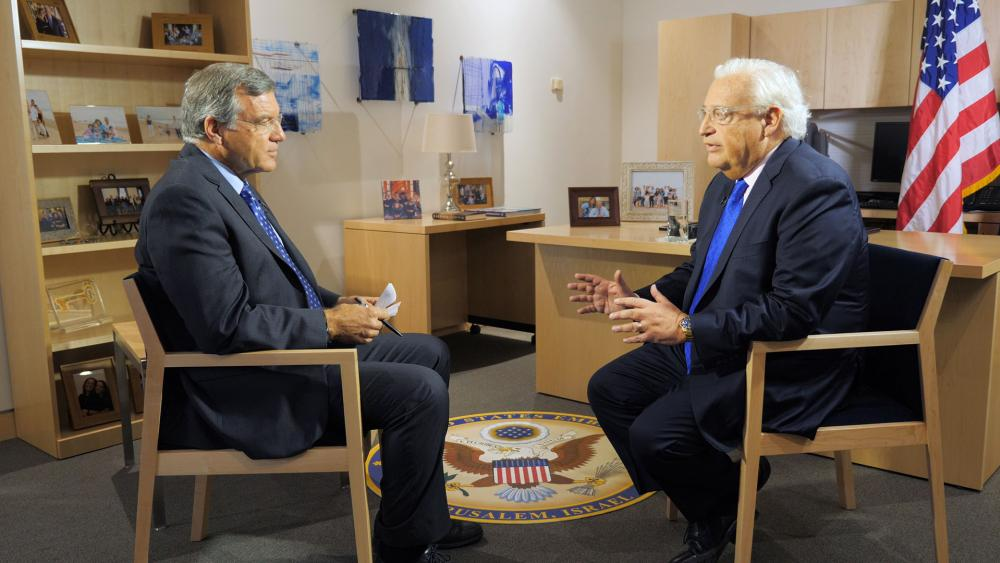 CBN News Middle East Bureau Chief Chris Mitchell Talks with US Ambassador to Israel David Friedman, Photo, CBN News, Jonathan Goff