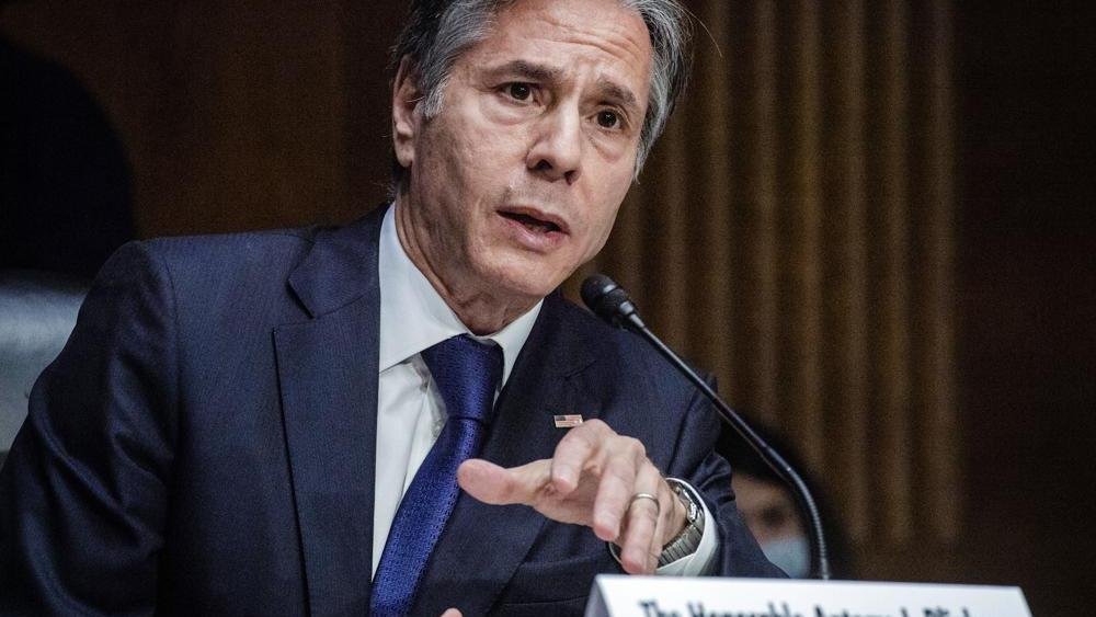 Secretary of State Antony Blinken testifies during a Senate Foreign Relations Committee hearing, Tuesday, Sept. 14, 2021 on Capitol Hill in Washington. (Jabin Botsford/Pool via AP)