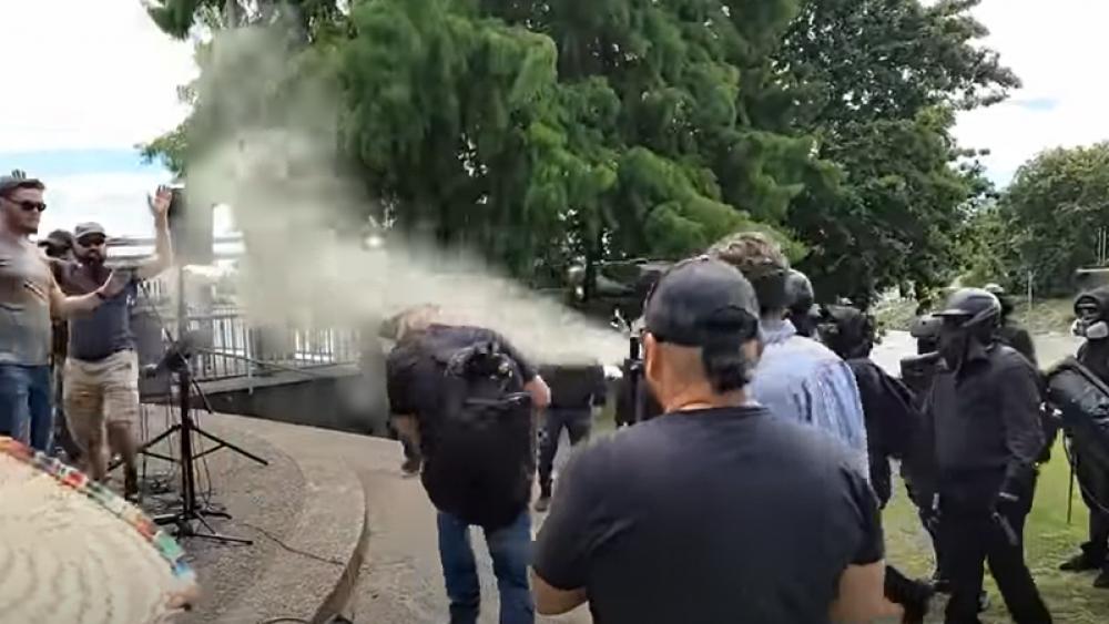 YouTube Screenshot: Mary Todd/Antifa spray mace at worshippers