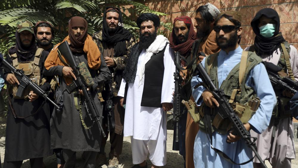 Taliban fighters pose for photograph in Wazir Akbar Khan in the city of Kabul, Afghanistan