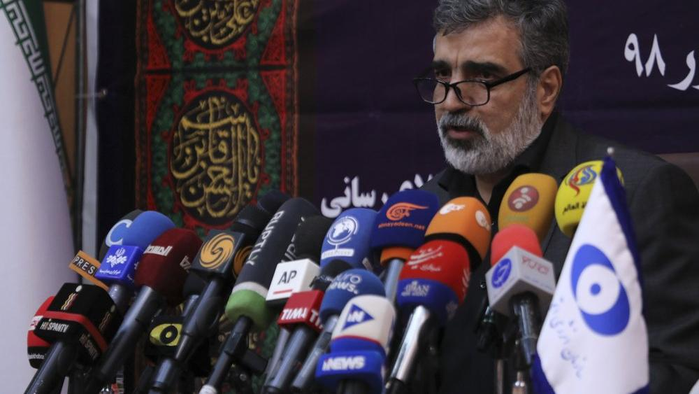 Atomic Energy Organization of Iran, spokesman of the organization Behrouz Kamalvandi speaks in a news briefing in Tehran, Iran, Saturday, Sept. 7, 2019 (Atomic Energy Organization of Iran via AP)
