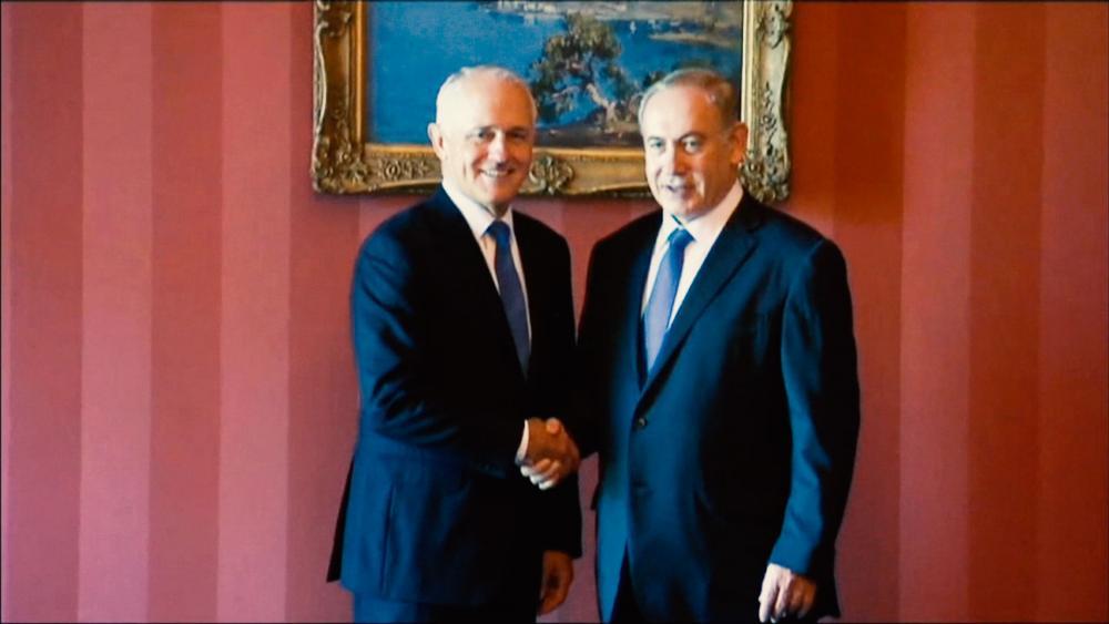Australian Prime Minister Malcolm Turnbull and Israeli Prime Minister Benjamin Netanyahu, AP photo