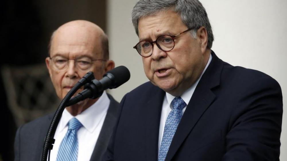 Attorney General William Barr speaks about the census as Commerce Secretary Wilbur Ross listens during an event with President Donald Trump in the Rose Garden at the White House, Thursday, July 11, 2019, in Washington. (AP Photo/Alex Brandon)