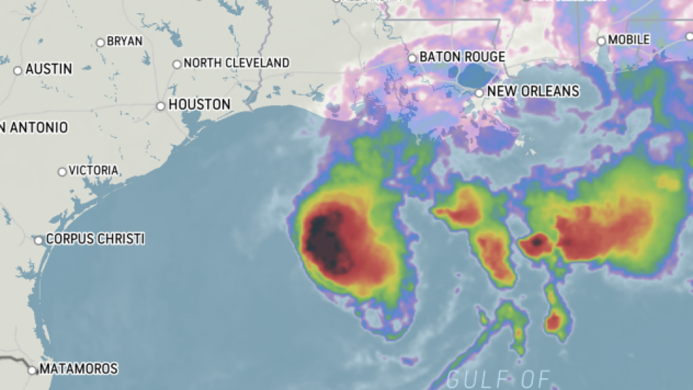 Tropical Storm Beta is seen on this infrared satellite image from early Sunday morning, Sept. 20, 2020. (AccuWeather)