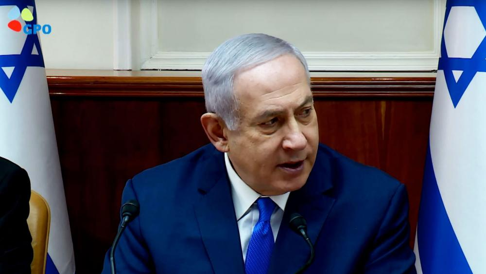 Israeli Prime Minister Praises US President G.W. Bush at Sunday's Cabinet Meeting, Screen Capture, GPO