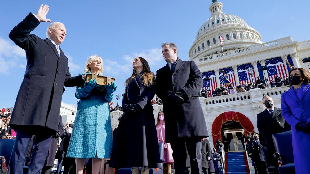 Joe Biden sworn in as 46th US president by Chief Justice John Roberts as Jill Biden holds the Bible during the Inauguration at the US Capitol Jan. 20, 2021, as their children Ashley and Hunter watch.(AP Photo/Andrew Harnik, Pool)