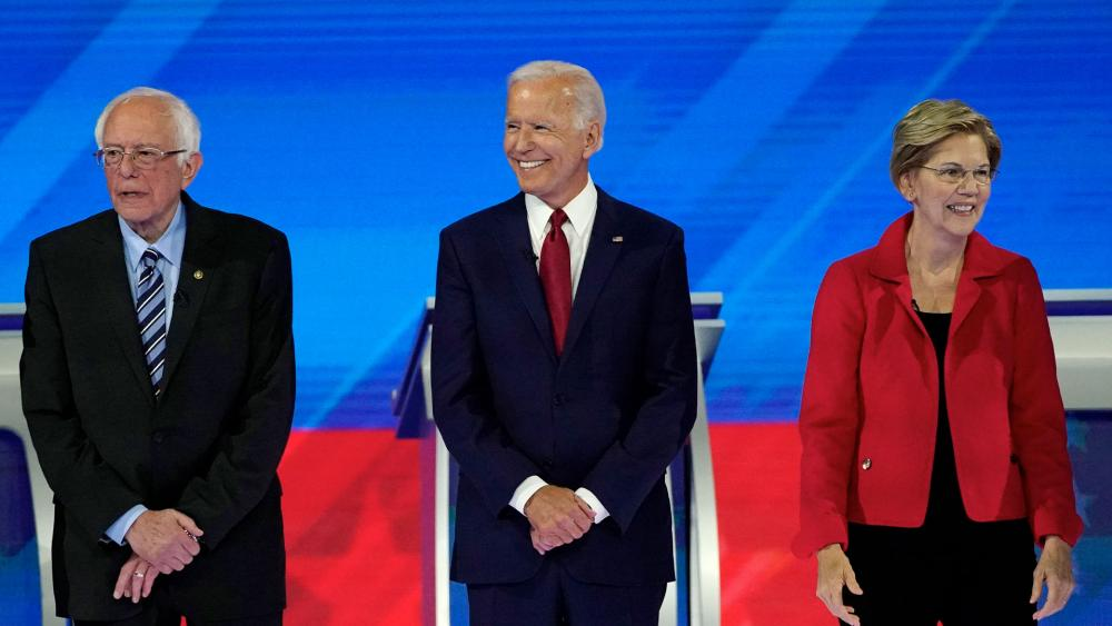Bernie Sanders, Joe Biden, and Elizabeth Warren (left to right) are leading the Democratic field for 2020.