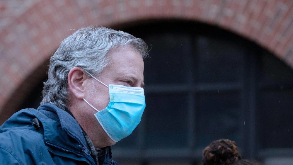 New York City Mayor Bill de Blasio, April 24, 2020. (AP Photo/Mark Lennihan)