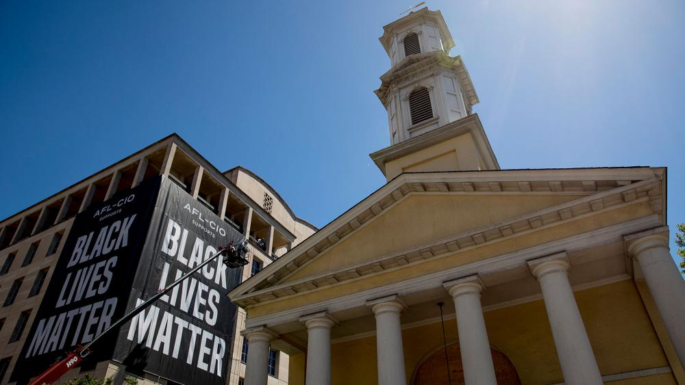 St. John's Episcopal Church across from the White House was attacked and damaged by protesters (AP Photo/Andrew Harnik)