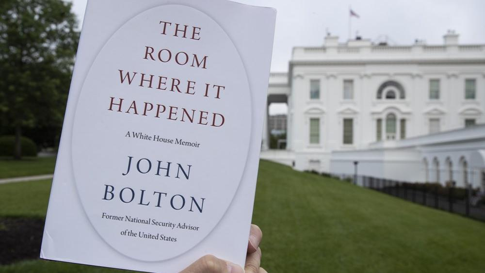 """The Room Where It Happened,"" by former national security adviser John Bolton, is photographed at the White House, June 18, 2020 (AP Photo/Alex Brandon)"