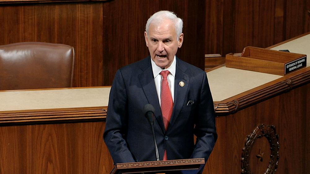 Rep. Bradley Byrne, R-AL, speaks as the House of Representatives debates the articles of impeachment against President Donald Trump at the Capitol in Washington, Dec. 18, 2019. (House Television via AP)