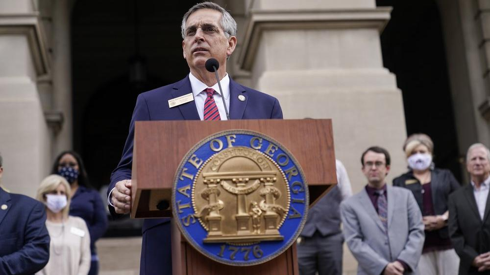 Georgia Secretary of State Brad Raffensperger speaks during a news conference. (AP Photo/Brynn Anderson)