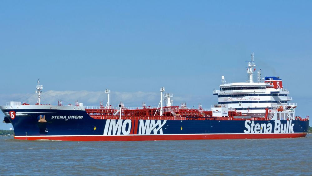 In this May 5, 2019 photo issued by Karatzas Images, showing the British oil tanker Stena Impero at unknown location, which is believed to have been captured by Iran. (Basil M. Karatzas, Karatzas Images via AP)