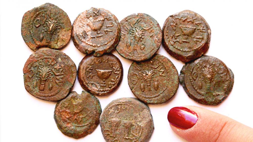'Freedom' and 'Redemption' Coins from Ophel Cave, Photo, Dr. Eilat Mazar