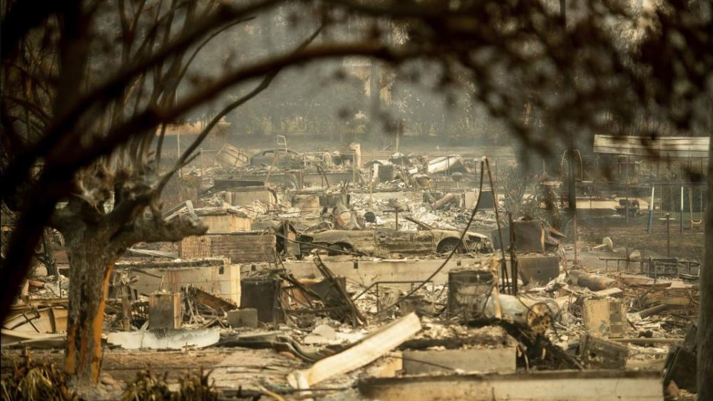 Leveled residences line a block following the Camp Fire in Paradise, Calif., on Monday, Nov. 12, 2018. AP Photo.