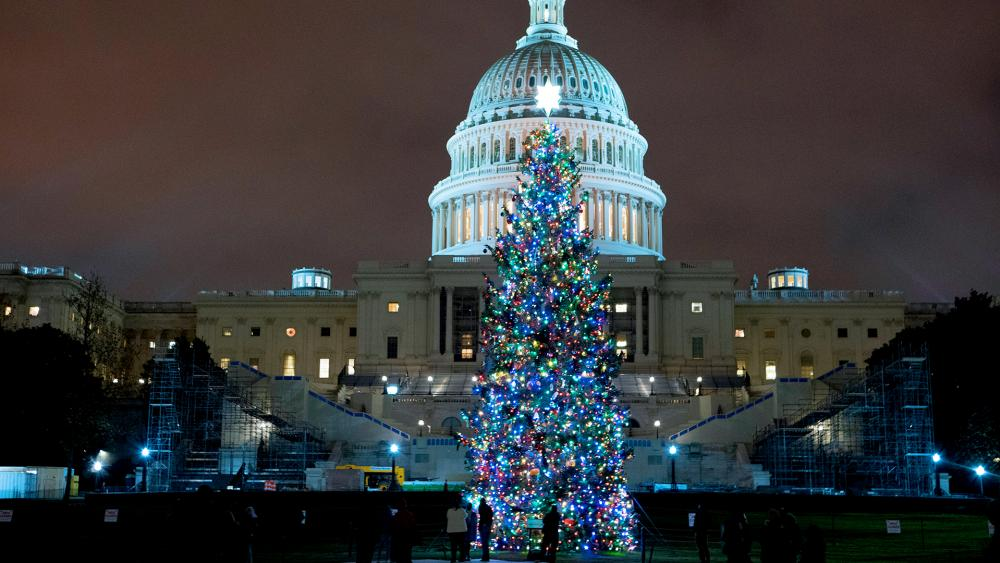 U.S. Capitol Christmas Tree is seen at the U.S. Capitol at night after negotiators sealed a deal for COVID relief Sunday, Dec. 20, 2020, in Washington. (AP Photo/Jose Luis Magana)