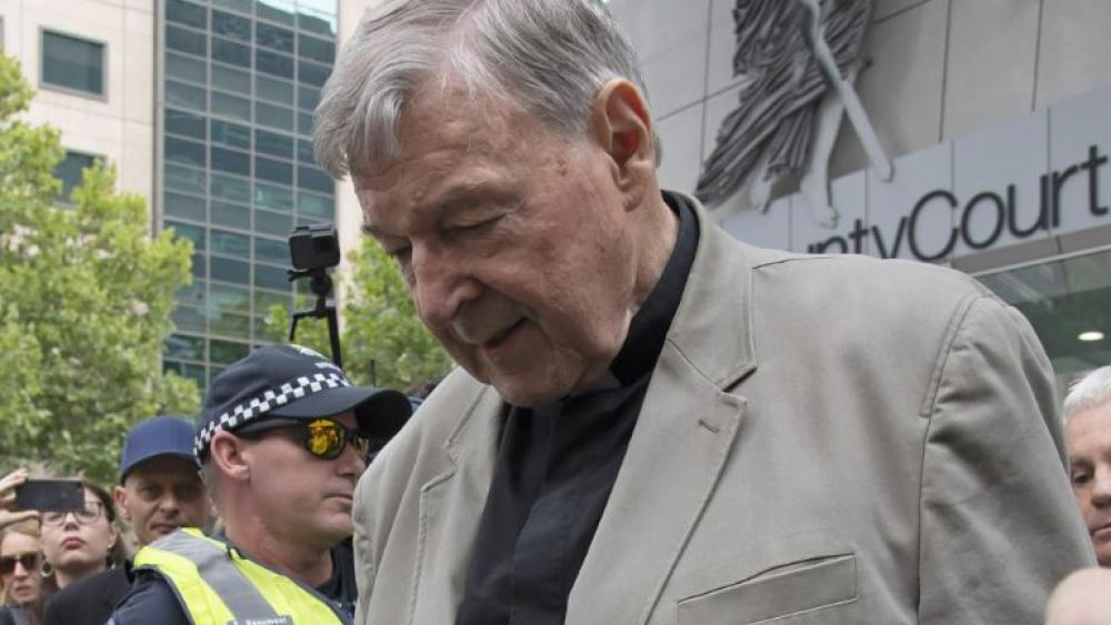 Cardinal George Pell leaves the County Court in Melbourne, Australia, Tuesday, Feb. 26, 2019. (AP Photo/Andy Brownbill)