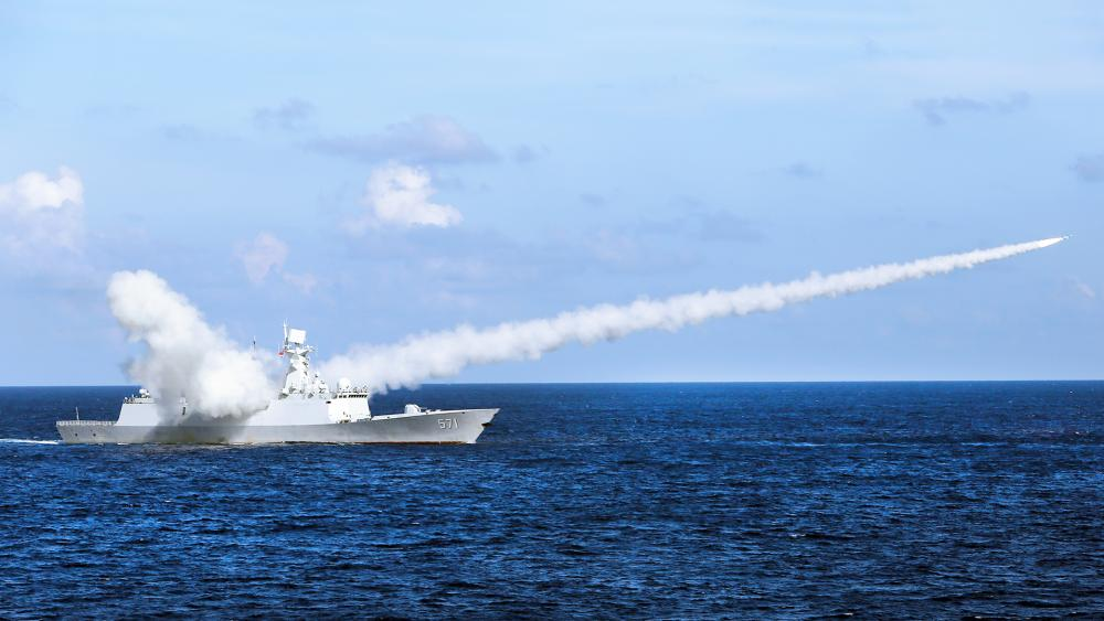Chinese missile frigate Yuncheng launches an anti-ship missile during a military exercise in the waters near south China's Hainan Island and Paracel Islands. (Zha Chunming/Xinhua via AP, File)