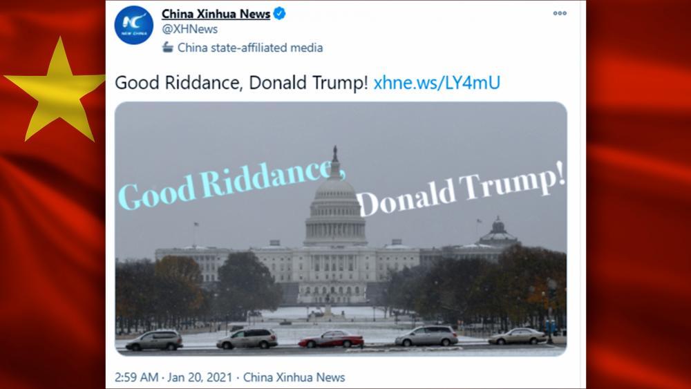 "China's Xinhua News Agency tweeted ""Good riddance"" to Trump"