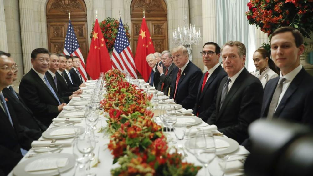 President Donald Trump with China's President Xi Jinping and members of their official delegations during their bilateral meeting at the G20 Summit, Saturday, Dec. 1, 2018 in Buenos Aires, Argentina. AP photo.