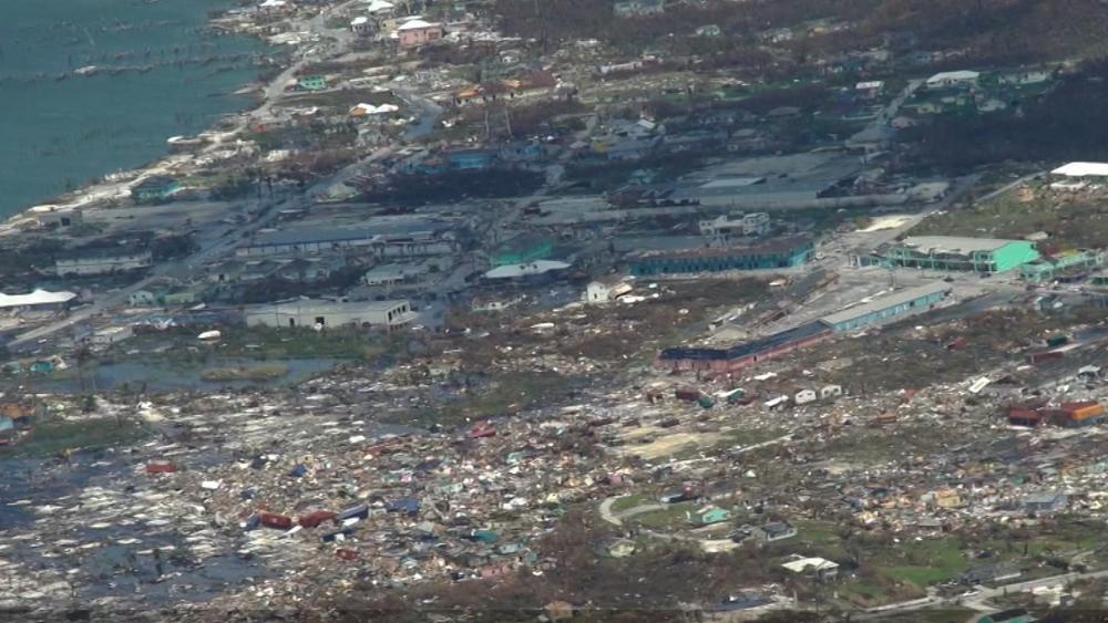 Aeriel footage of Hurricane Dorian's destruction in the Bahamas (Image: CBN News)