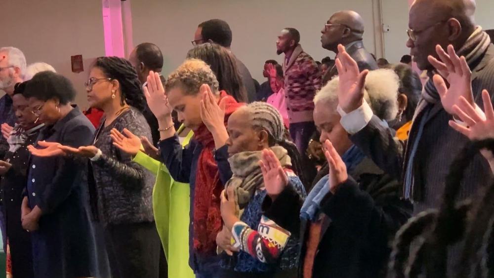 Worshippers at the Paris Christian Center (Photo: CBN News)