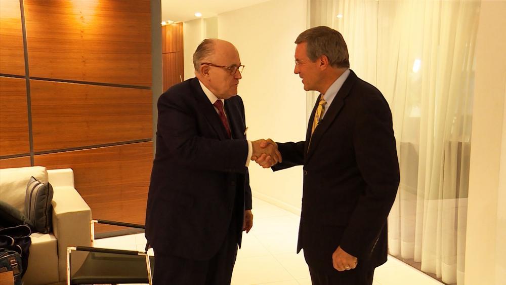 Rudy Giuliani with Middle East Bureau Chief Chris Mitchell, CBN News image, Jonathan Goff