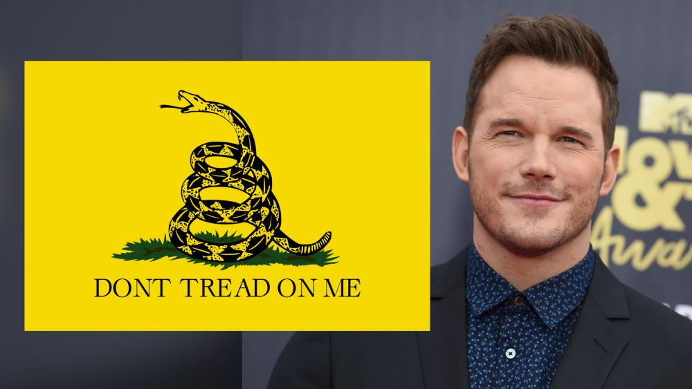 The Gadsden flag and actor Chris Pratt. (Image credit: Adobe/AP File)