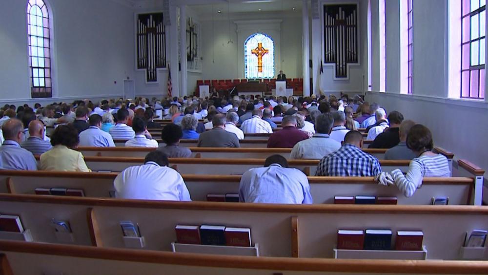 Christians worshiping in church