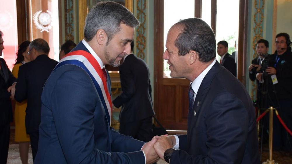 Jerusalem Mayor Nir Barkat at Inauguration of Paraguay President Mario Abdo, Photo, GPO