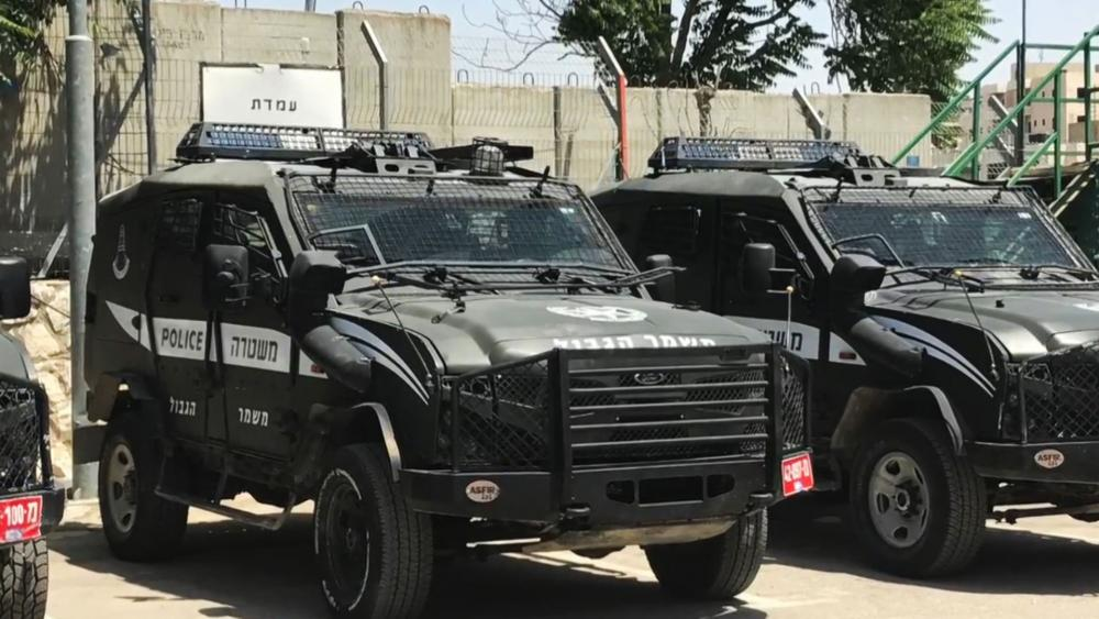 Israel Police Trucks, Photo, CBN News, Jonathan Goff