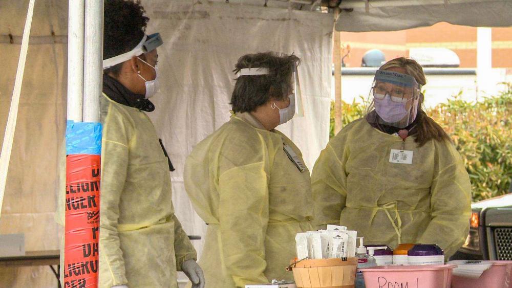 Drive-thru testing for COVID-19 at Sentara Princess Anne Hospital in Virginia Beach, Virginia (Photo: CBN News)