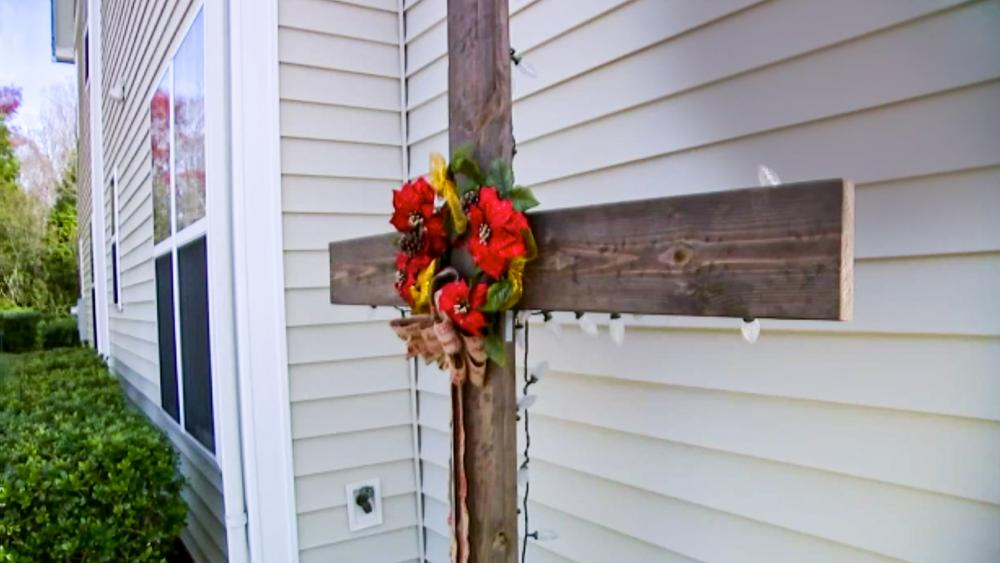 Cross put up by James and Dee Faison for Christmas