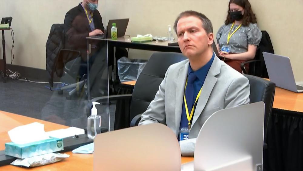 Former Minneapolis police Officer Derek Chauvin listens as his defense attorney gives closing arguments Monday, April 19, 2021 in his trial over the death of George Floyd. (Court TV via AP, Pool)