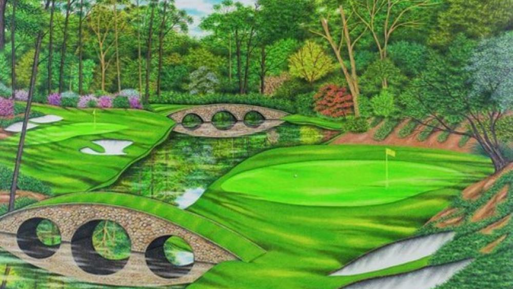 Valentino Dixon's drawing of the No. 12 at Augusta National. (Image credit: Valentino Dixon/AP)