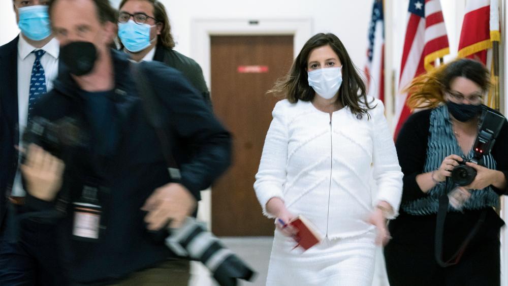 Rep. Elise Stefanik (R-NY) walks to her office on Capitol Hill, Wednesday, May 12, 2021, Washington. (AP Photo/Manuel Balce Ceneta)