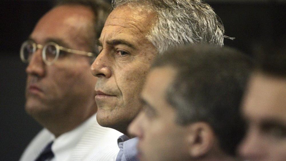 Jeffrey Epstein appears in court on July 30, 2008 in West Palm Beach, Fla. (AP Photo/Palm Beach Post, Uma Sanghvi, File)
