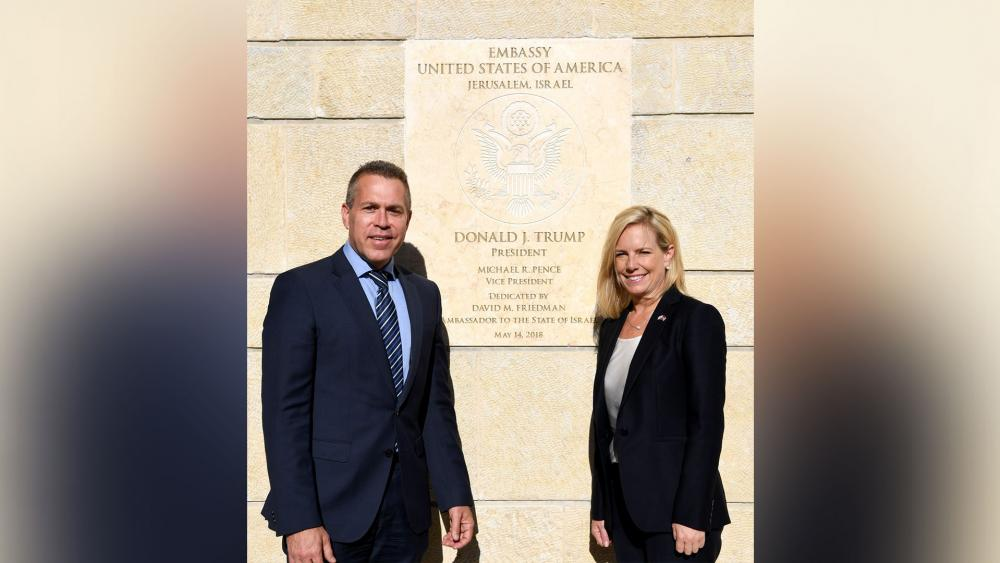 Israeli Public Security and Strategic Affairs Minister Gilad Erdan and US Homeland Security Secretary Kirstjen Neilson at International Homeland Security Forum in Jerusalem, Photo, CBN News, Jonathan Goff