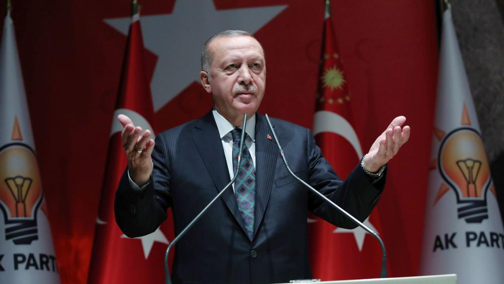 "Turkey's President Recep Tayyip Erdogan claims on Oct. 10, 2019 that 109 Syrian Kurdish ""terrorists"" have been killed so far. Erdogan also warned the European Union not to call his attack an 'invasion'. (Turkish Presidency Press Service via AP)"