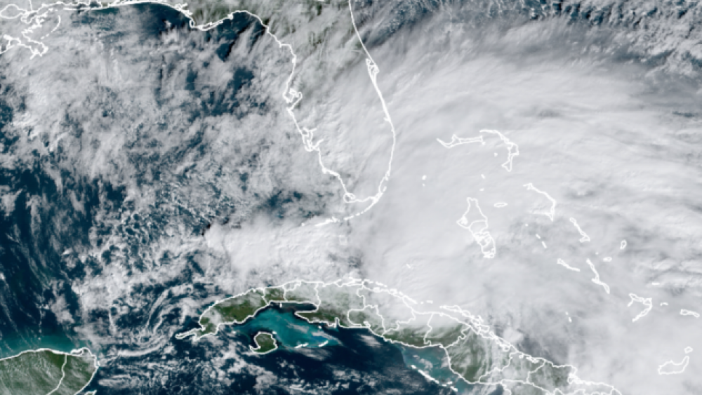 This satellite imagery from Sunday morning, Nov. 8, 2020, shows Eta emerging from the northern coast of Cuba. (CIRA at Colorado State/GOES-East)