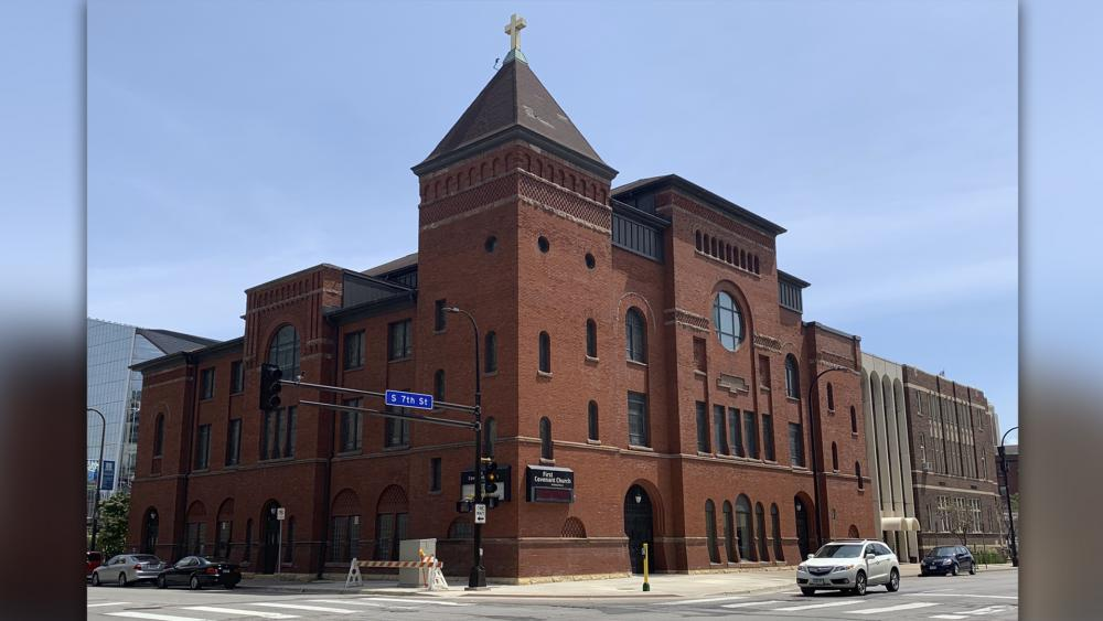 The First Covenant Church building is shown June 29, 2019, in downtown Minneapolis. (AP Photo/Jeff Baenen)