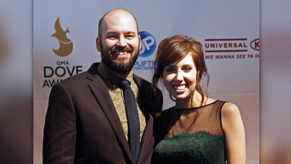 Francesca Battistelli, right and her husband Matthew Goodwin. (AP Photo)
