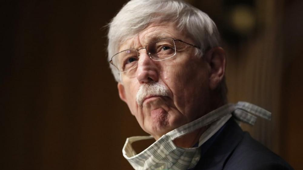 In this May 7, 2020 file photo, Dr. Francis Collins attends a hearing on new coronavirus tests on Capitol Hill in Washington (AP Photo/Andrew Harnik, Pool)