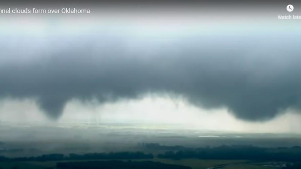 Funnel clouds over Oklahoma.  (Screenshot credit: KWTV via APTN)